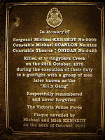 Plaque remembering the policemen who loost their lives at Stringybark Creek